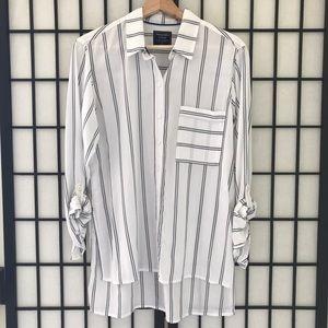 A&F Striped Slim Boyfriend Shirt